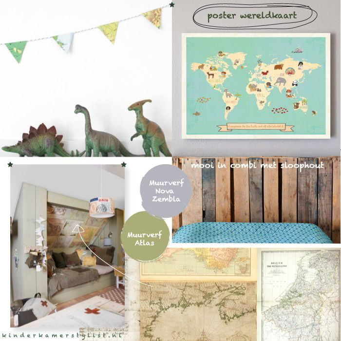 Inspiration kidsroom #DIY World map garland