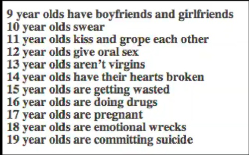 Can I just say this is not always the case for I am 14 nearly 15 and I have never had a boyfriend, kissed anybody, groped anybody, gave oral sex, had my heart broken and I haven't lost my virginity. So people have to stop making assumptions on young people. I agree some people have done this but not everybody and we all end up getting bad names for these assumptions.