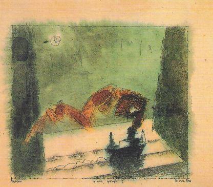 Lyonel Feininger: Lamina del cartapacio para Walter Gropius, 1924.