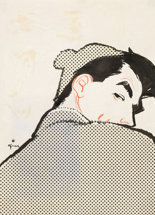 Men's Fashion Illustration  by René Gruau    c. 1950 - This looks like Gregory Peck which is pretty awesome.