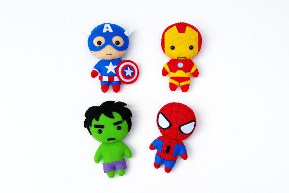 Marvel Superhero Avengers Captain America, Iron Man, Spiderman, The Hulk Felt Plush Toy Doll or Ornament