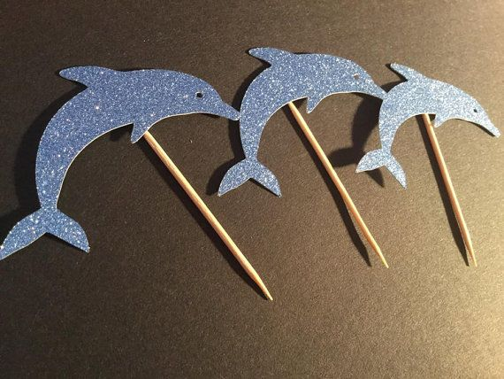Dolphin party decorations cupcake toppers by AliceAnnLondon