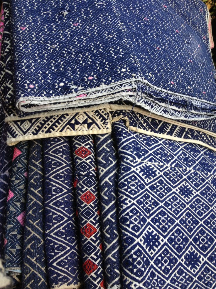 Indigo Vintage embroidered pattern detail | Indigo | layers, fabric, designs, gold, red, trim Vintage fabric found at MIXfurniture.com