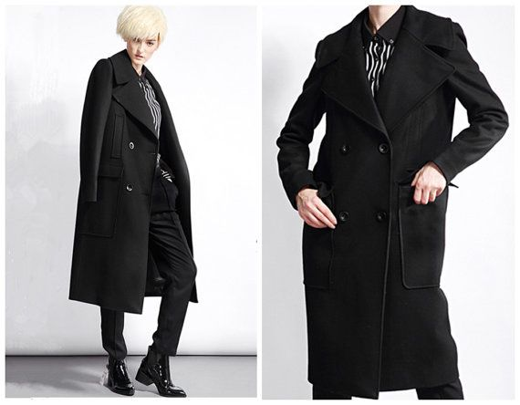Black wool coat for women detail at pocket from BWG studios.