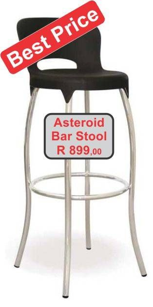 Black plastic seat Asteroid bar stool with chrome legs
