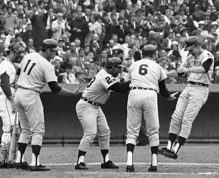 Freehan, Horton, and Kaline congratulate Northrup, 1968 World Series