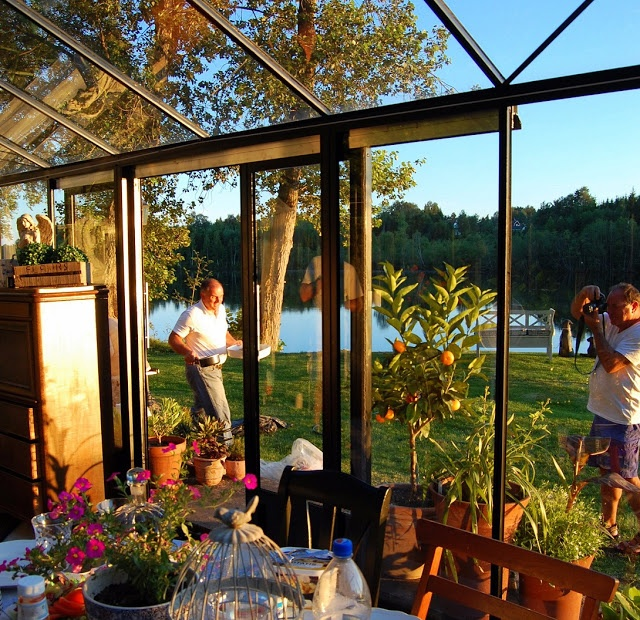 During summer we often have parties in the greenhouse. It is a great outdoor room!