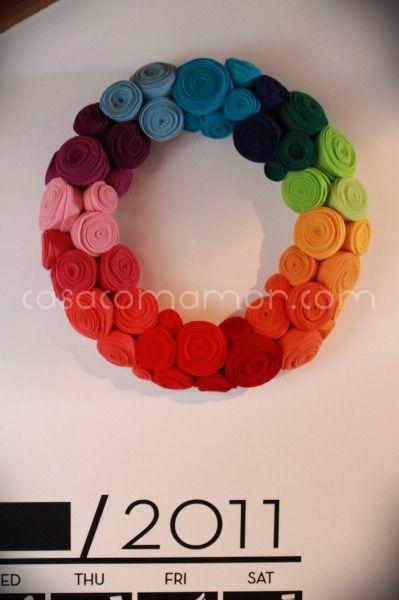 Rainbow felt flower wreath