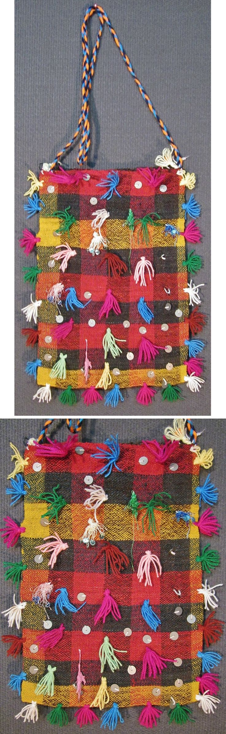 Traditional woollen 'çanta' (shoulder bag) from the Pomak villages in the Biga district (Çanakkale province). Part of a festive costume, ca. 1975. Adorned with metal sequins and small cotton tassels. (Inv.nr. çan007 - Kavak Costume Collection - Antwerpen/Belgium).