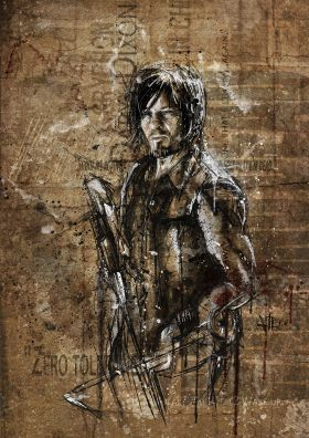 Digital illustration. Grunge Daryl From twd.