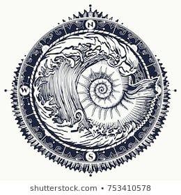 Big wave and sea shell tattoo and t-shirt design. Symbol of adventures boho styl… – Paleontologia