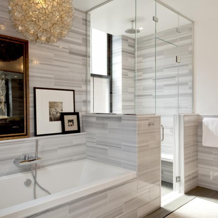 Asher Gray and Luxor Gray bathroom tiles with gold light pendant, Platt Dana, Remodelista
