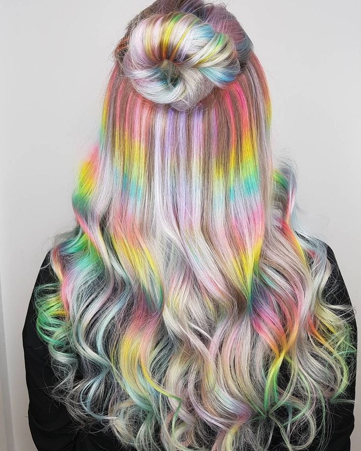 """3,146 Likes, 76 Comments - Winnipeg, Canada Pulp Riot (@hairbymisskellyo) on Instagram: """"Rainbow hair on a full head of Classic Hilights! This one took a little bit of time, but hot…"""""""