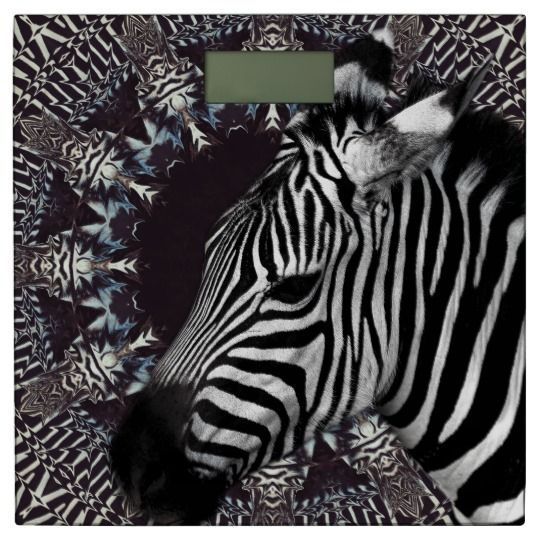 Zebra Art  Bathroom Scale by www.zazzle.com/htgraphicdesigner* #zazzle #gift #giftidea #bathroom #scale #zebra #art #black #mandala