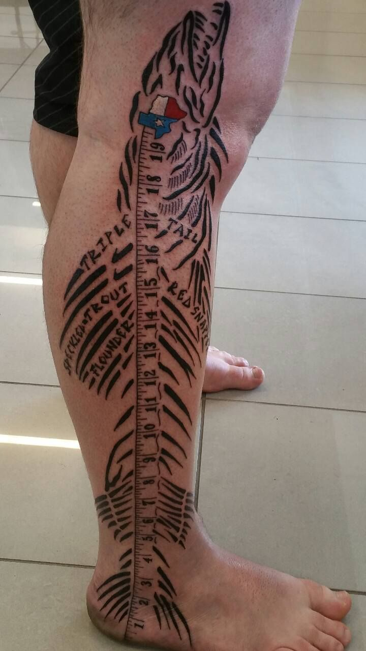 Houston fisherman gets awesome leg tattoo the o 39 jays for Tattoo parlors houston