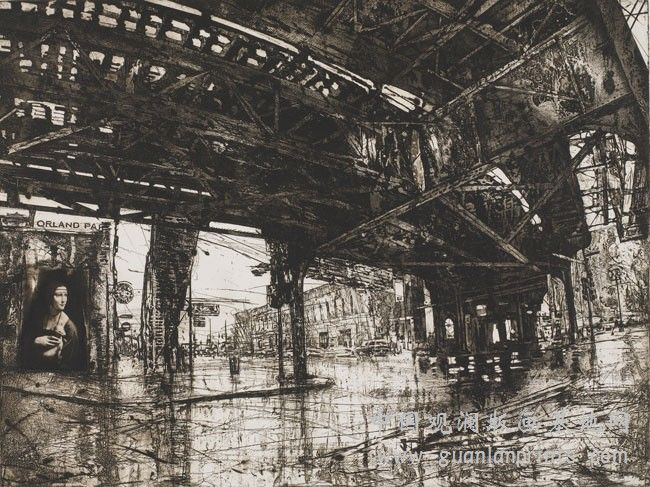"""Works"" by Michael Goro, intaglio"