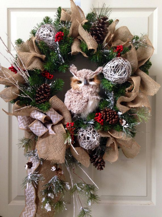 Winter owl decor wreath by WilliamsFloral on Etsy, $140.00