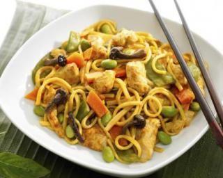 Wok de shirataki de konjac aux légumes et dinde marinée à la sauce soja                                                                                                                                                                                 Plus