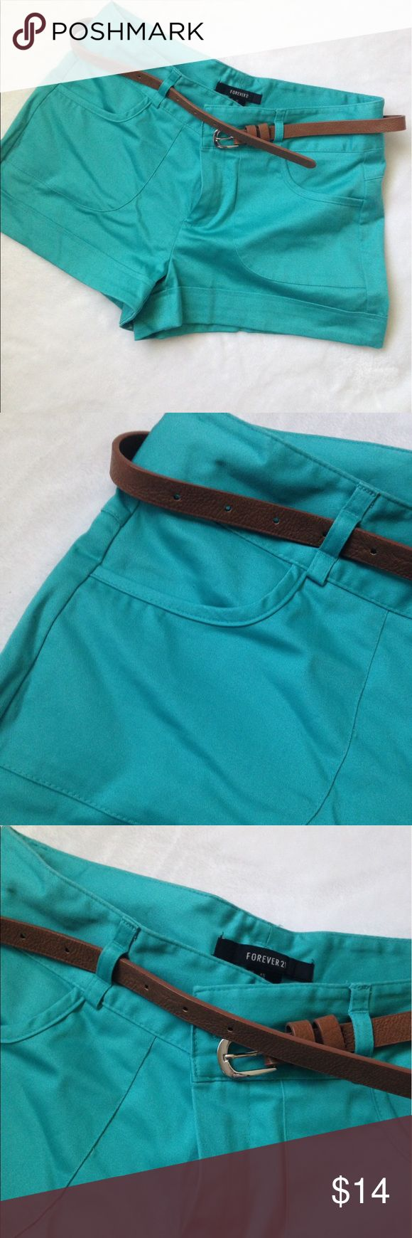 Teal shorts with belt Teal shorts with belt faux back pockets Forever 21 Shorts