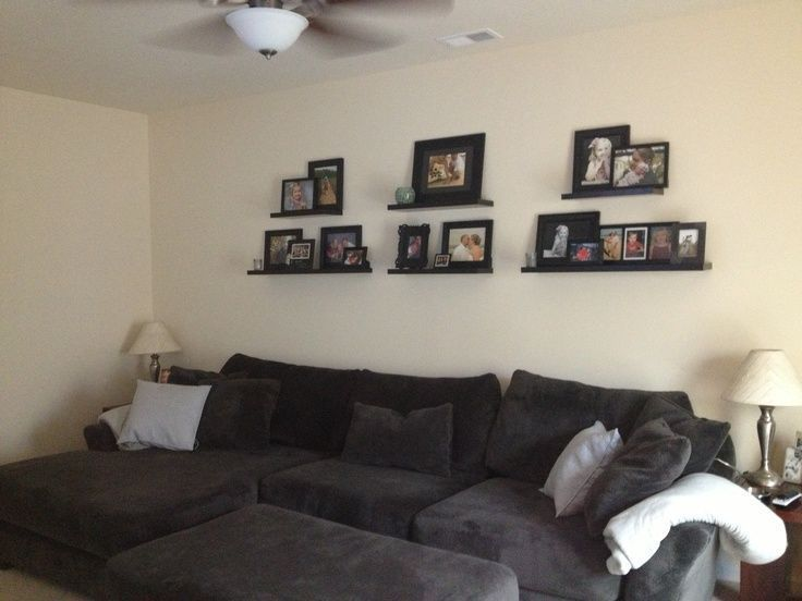 Photo gallery wall. Shelves above couch. – #abovec…