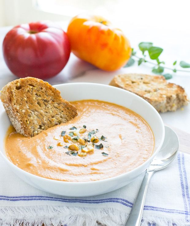 Creamy Eggplant and Tomato Soup #vegan #cleaneating