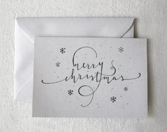 Merry Christmas Card hand drawn one by one on order - Happy Christmas customized text and design