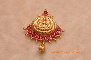 lakshmi pendant studded with rubies
