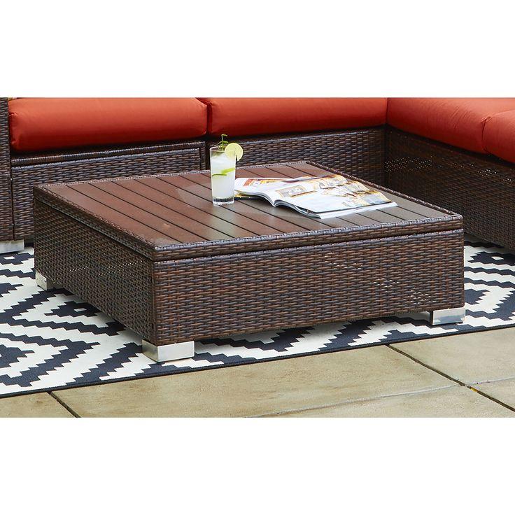 Handy Living Aldrich Grey Indoor/Outdoor Rattan Cocktail Table, Patio Furniture