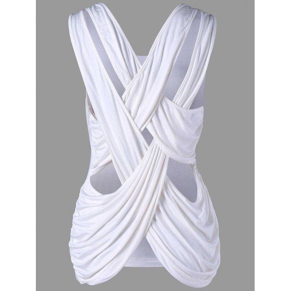 Criss Cross Tank Top - White L Mobile