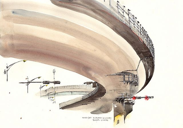 Architectural Watercolors by Sunga Park Dongseo elevated highway, Busan