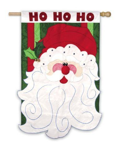"""Whimsical Ho, Ho, Ho Santa Claus Face Christmas Applique Outdoor Flag 43"""" x 29"""" by Evergreen. $29.99. Ho Ho Ho Santa Claus Outdoor FlagItem #15482Create a vibrant holiday ambiance on your front patio with this cheerful Christmas flagFlag features a jolly Santa Claus face on a green and red striped backgroundFlag reads """"Ho Ho Ho"""" across the topDimensions: 43""""H x 29""""WMaterial(s): polyesterNote: Flag only, flagpole not included. Save 14% Off!"""