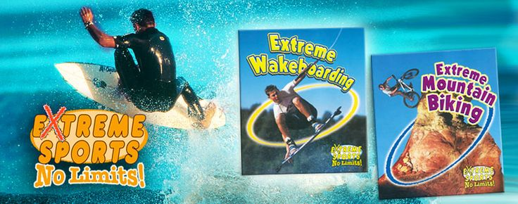Extreme Sports - No Limits! series (Crabtree Publishing)_ Whether flying off a giant ramp, diving from an airplane, or tackling waves taller than a five-story building, these sports push their athletes to the absolute limits. Grades 3-6