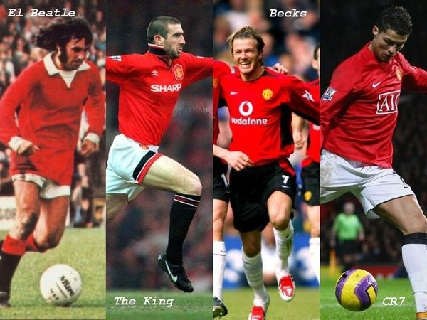 Number 7 legends of Manchester United George Best, Eric Cantona, David Beckham, Christiano Ronaldo