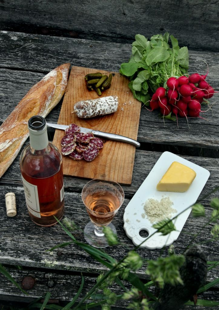 aperitifs - saucisson sec, pickles, and crunchy radishes + rose