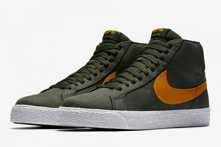 1d316677032d Nike SB Blazer Mid Olive Orange Undefeated