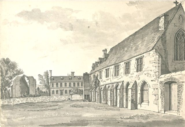 The ruins of St Swithin's Church and the Greyfriars, Lincoln, 1784.