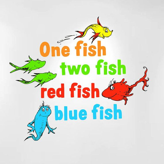 One fish two fish red fish blue fish dr seuss kids wall for Red fish blue fish dr seuss