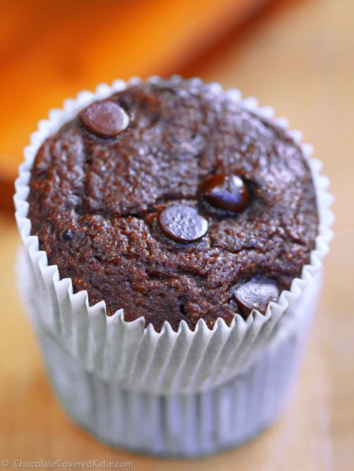 Yogurt is used instead of oil or butter in the recipe, adding moisture and softness without weighing the muffins down. They remind me of the jumbo double chocolate muffins from Sams Club! http://chocolatecoveredkatie.com/2015/01/20/low-fat-chocolate-muffins-100-calories/