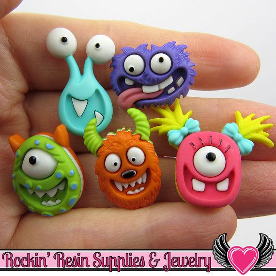 Jesse James Buttons 5 pc MAD for MONSTERS Creature Kids Buttons OR Turn them Into Flatback Decoden Cabochons