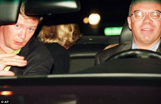 Princess Diana (in the back seat), driver Henri Paul (right) and Dodi Fayed were killed in the crash in Paris. Bodyguard Trevor Rees-Jones (left) survived.