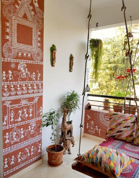 Design Decor & Disha: Indian Balcony Decor, Balcony Decor, Balcony Grden, Garden Accessories, Warli Painting On Wall,
