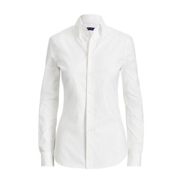 Ralph Lauren Collection Cameron Cotton Oxford Shirt (2.575 RON) ❤ liked on Polyvore featuring tops, white, white oxford shirt, collar top, polo tops, polo oxford shirt and white long sleeve top
