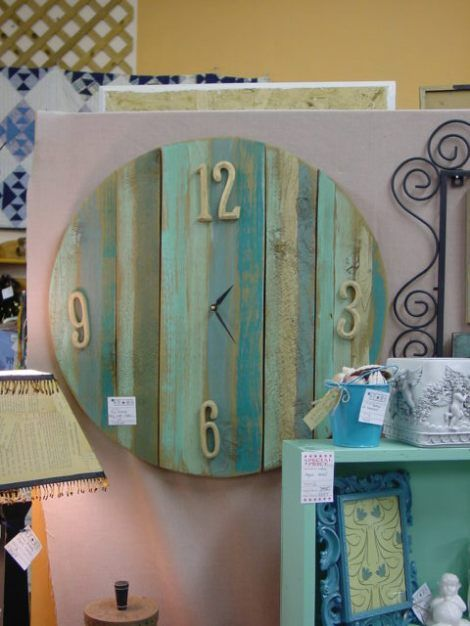 Love the look of the painted distressed wood of the clock! Maybe cute for cabinet doors or kitchen backsplash?