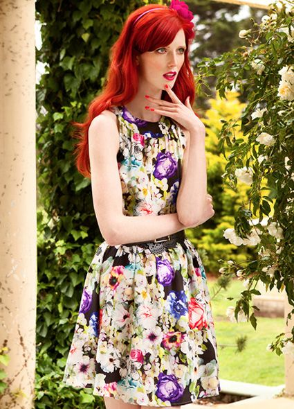 Alannah Hill -Don't Let Go Dress is a silk crepe de chine summer dress in an exclusive Alannah Hill photographic and illustrated floral print design. This style is fitted in the bodice, with a fuller gathered skirt. Features a curved neckband and light gathering at the neckline, with a sweet keyhole at the back neckline. Dress finishes above the knee, fully lined.