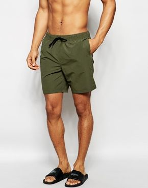 ASOS - Short de bain mi-long - Kaki