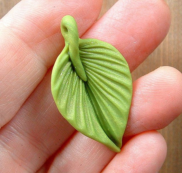 Bright Green Leaf Little Pendant by ZudaGay, via Flickr