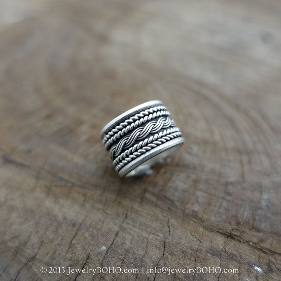 BOHO 925 Silver Ring-Gypsy Hippie Ring,Bohemian style,Statement Ring R131 JewelryBOHO,Handmade sterling silver BOHO Tribal printed ring