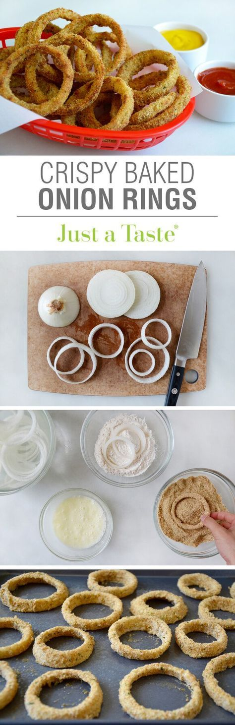 "2 large Vidalia Onions, 3/4 c. Flour, 4 large Egg Whites, 2 T. Mayonnaise, 1 1/2 c. fine Italian-style Breadcrumbs... Preheat 425*F. Spray bake sheet with PAM. Slice onions 1/2"" wide rings. Place in water bowl. Bowl 1: Flour, 1 tsp salt, 1/4 tsp pepper. Bowl 2: Egg whites and mayo. Bowl 3: Crumbs. Remove ring from water; shake to dry. Coat in bowls 1, 2, and 3. Place on bake sheet. Spray with PAM to brown. Bake 10 min. Flip. Bake 5 min until crispy brown. Serve with dipping sauce."