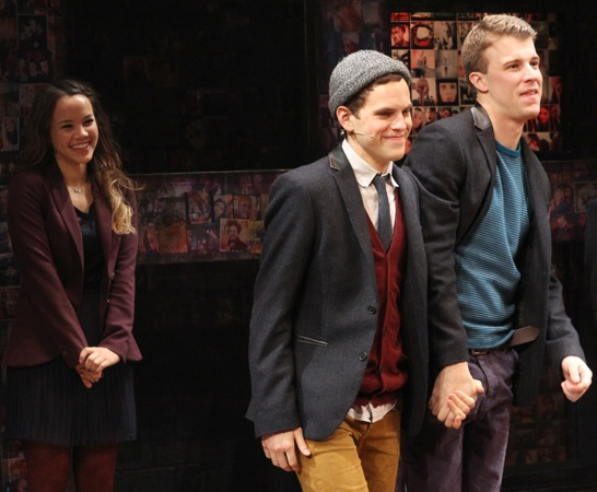 Bare stars Taylor Trensch and Jason Hite are elated as they take their opening night curtain call.(© Miguel Munguia)