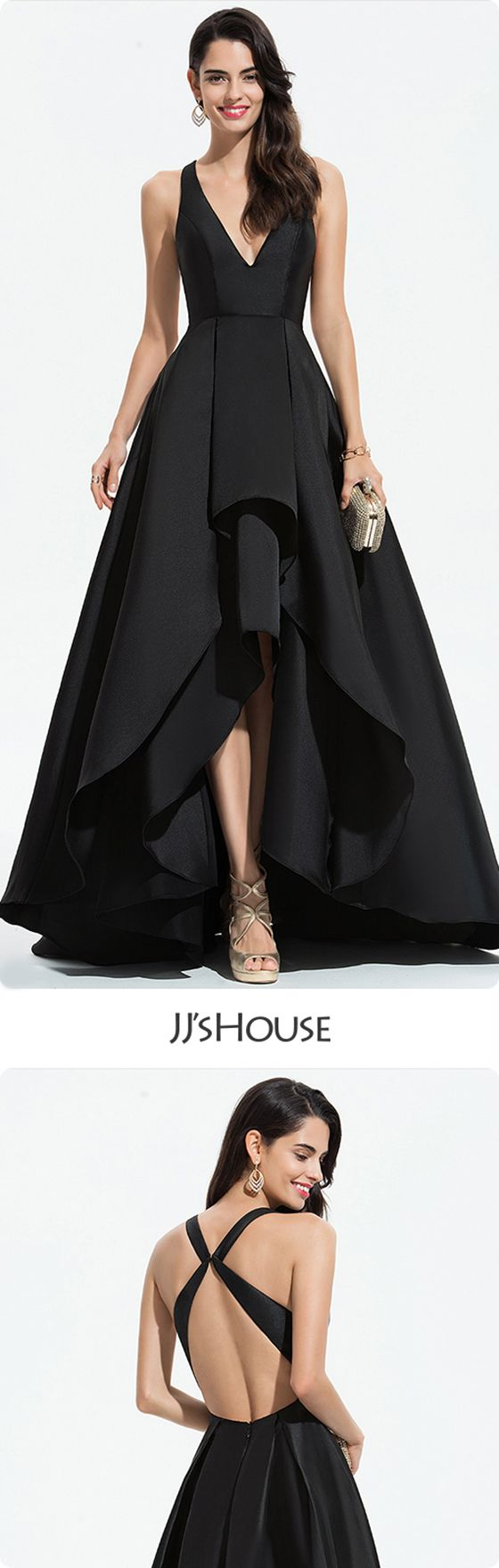 A-Line V-neck Asymmetrical Satin Prom Dresses With Cascading Ruffles #JJsHouse #PromDresses